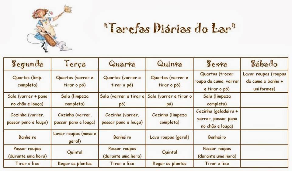 TABELA SEMANAL DE LIMPEZA DA CASA