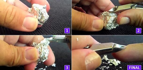 Amolar alicate de unha com papel alumínio