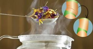 Coquetel quente de ervas diuréticas