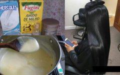 Hidratação com leite e Maisena ➡ cabelo liso e super hidratado