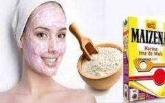 Máscara facial de maisena com efeito botox e que controla a oleosidade