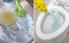 Mistura caseira para limpar o vaso sanitário e a área do banho
