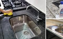 Como limpar a bancada da cozinha: cerâmica, pedra e inox